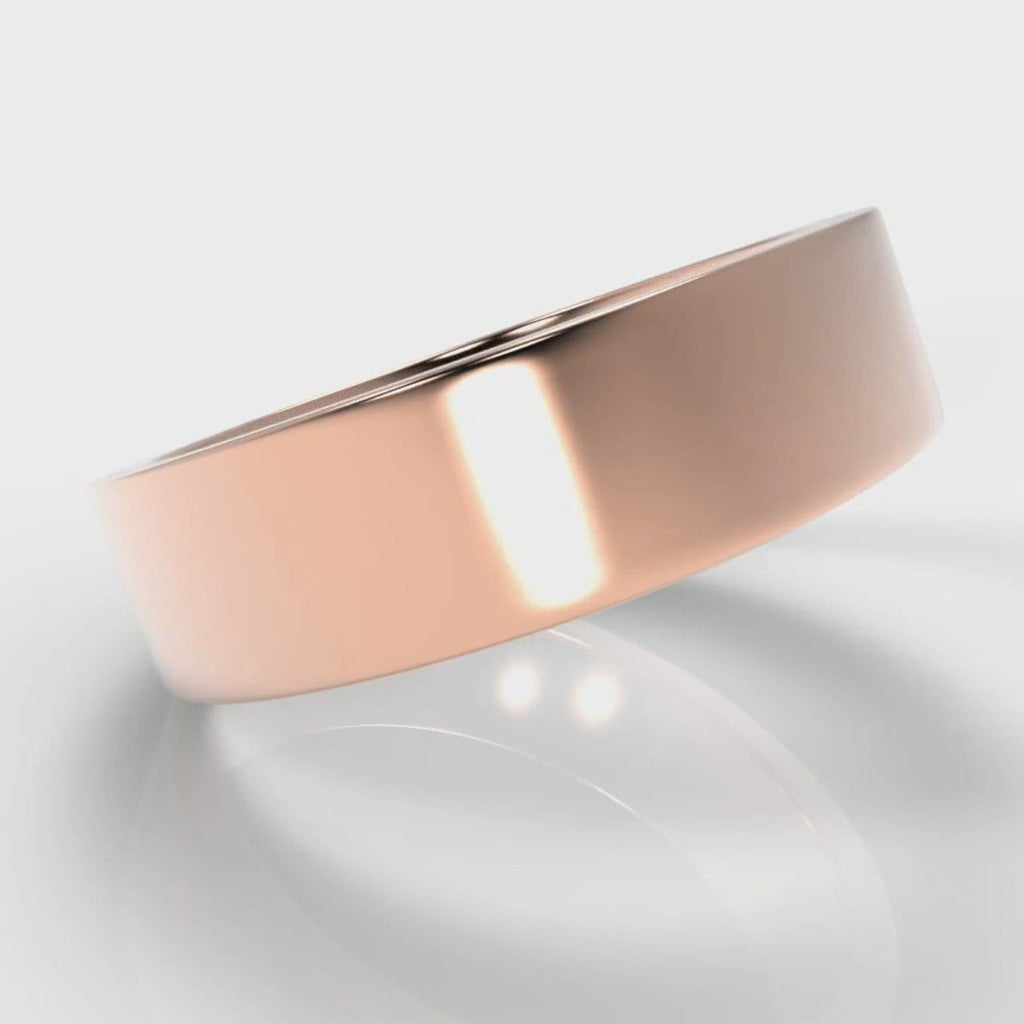 6mm Flat Top Comfort Fit Wedding Ring - Rose Gold