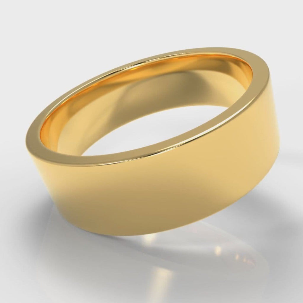 7mm Flat Top Comfort Fit Wedding Ring - Yellow Gold