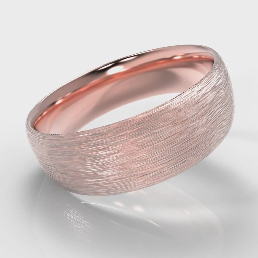 7mm Court Shaped Comfort Fit Brushed Wedding Ring - Rose Gold