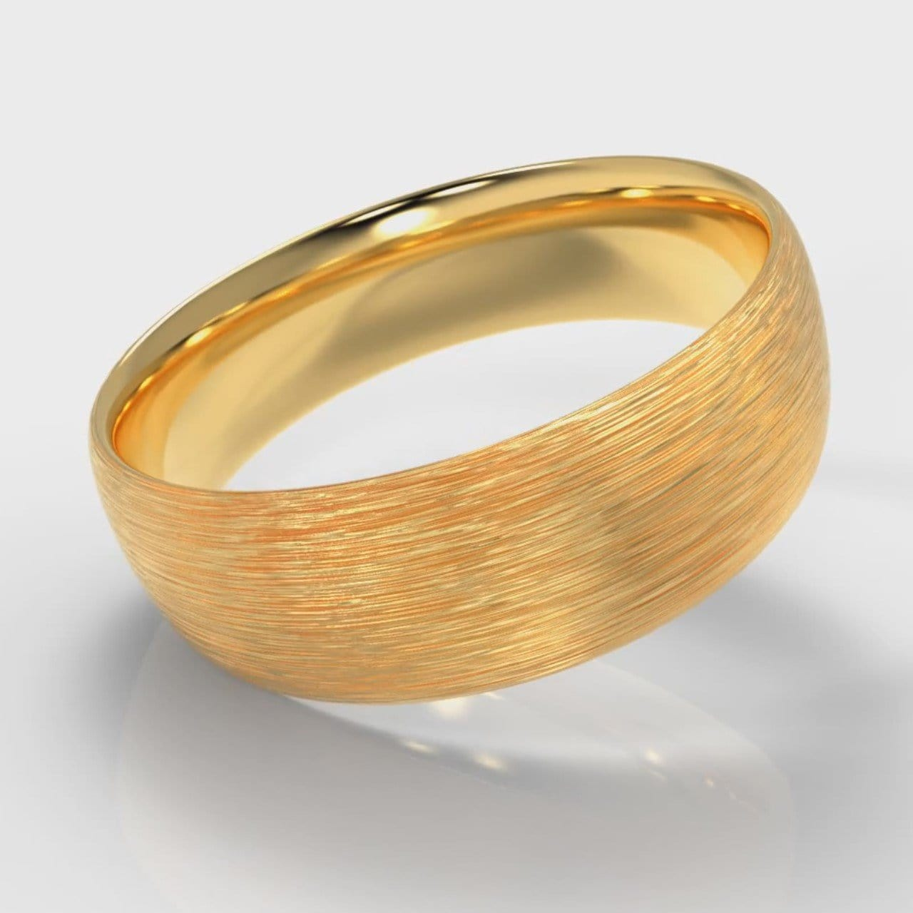 7mm Court Shaped Comfort Fit Brushed Wedding Ring - Yellow Gold