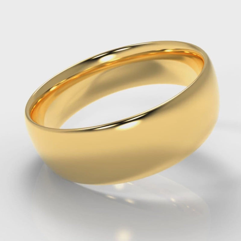 7mm Court Shaped Comfort Fit Wedding Ring - Yellow Gold