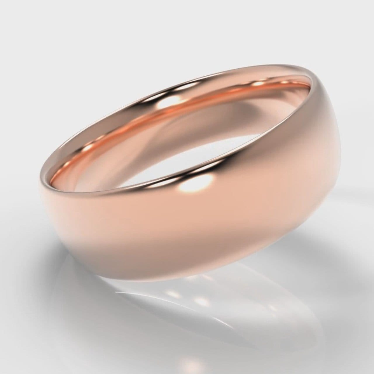 7mm Court Shaped Comfort Fit Wedding Ring - Rose Gold