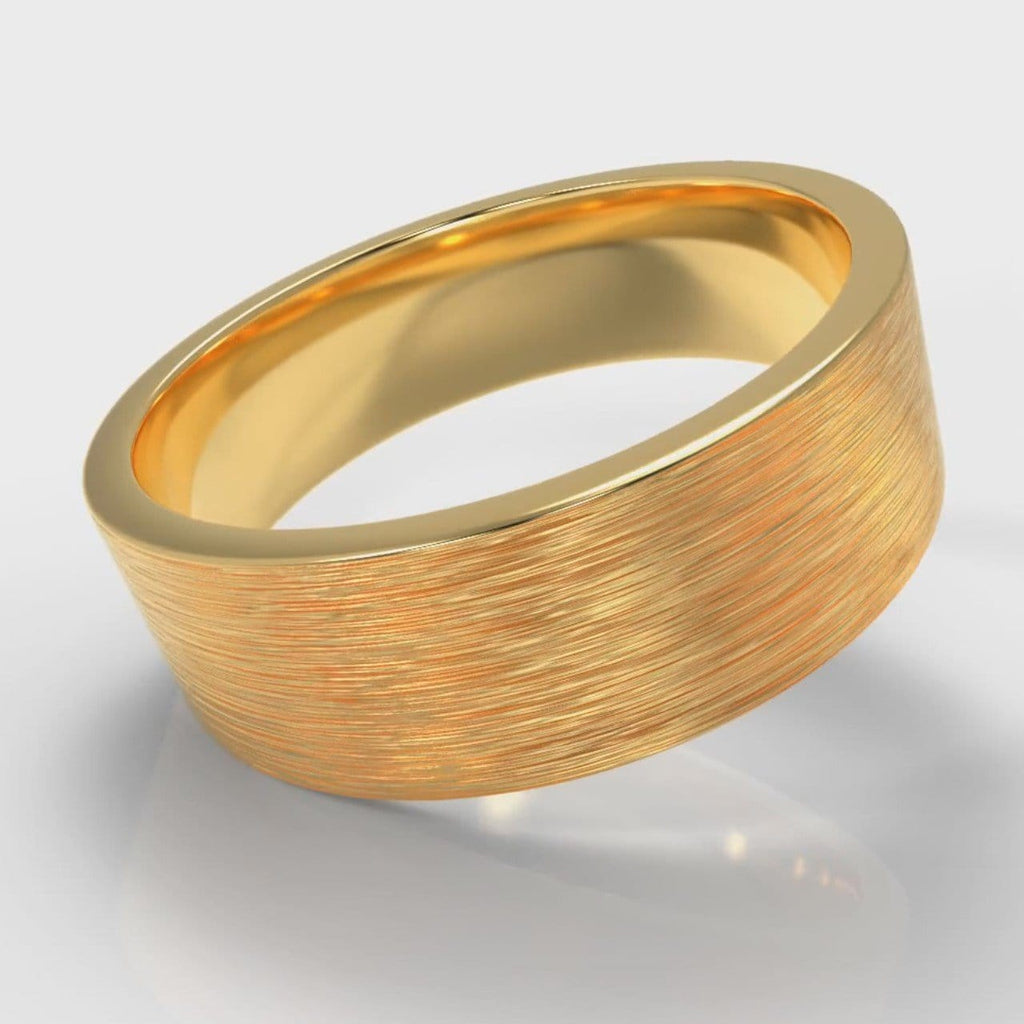7mm Flat Top Comfort Fit Brushed Wedding Ring - Yellow Gold