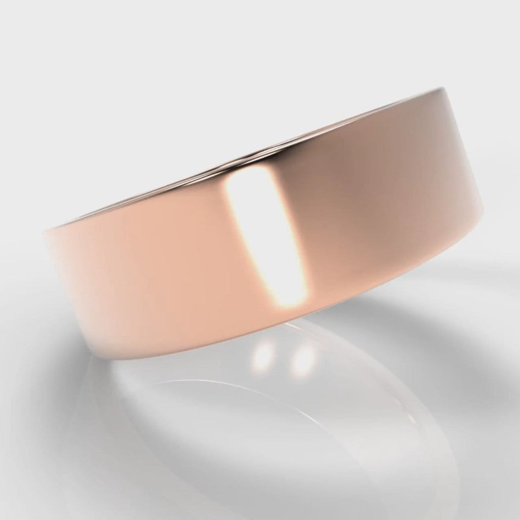 7mm Flat Top Comfort Fit Wedding Ring - Rose Gold