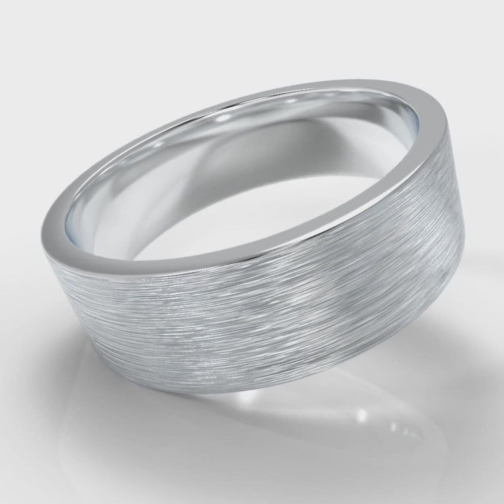 7mm Flat Top Comfort Fit Brushed Wedding Ring