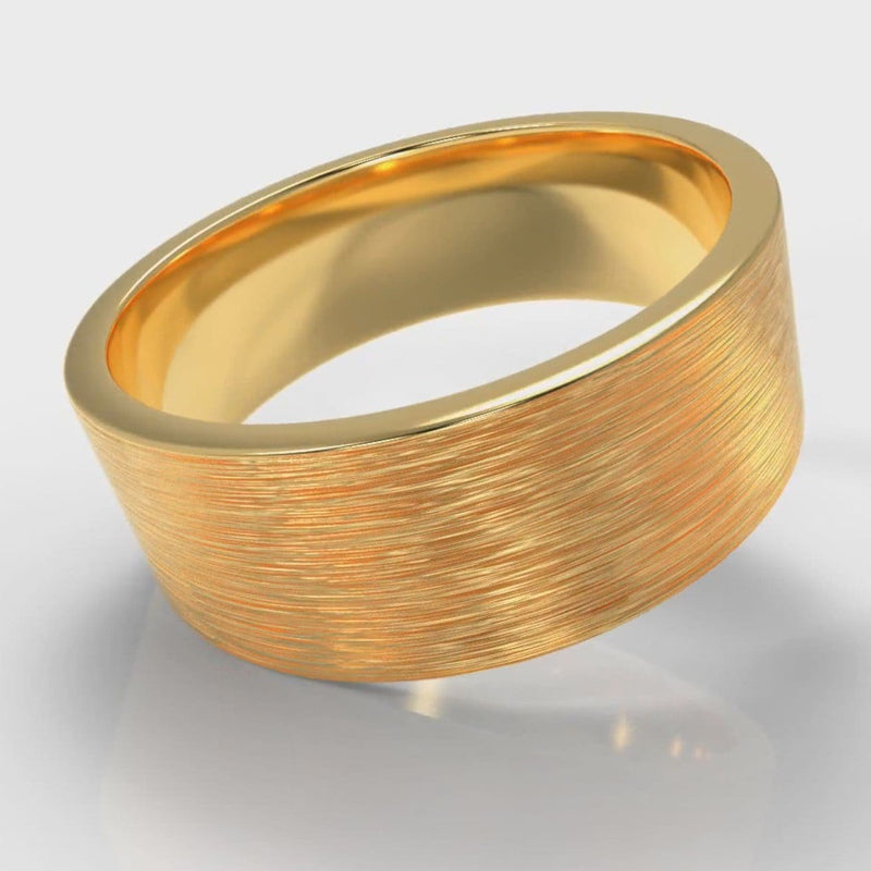 8mm Flat Top Comfort Fit Brushed Wedding Ring - Yellow Gold