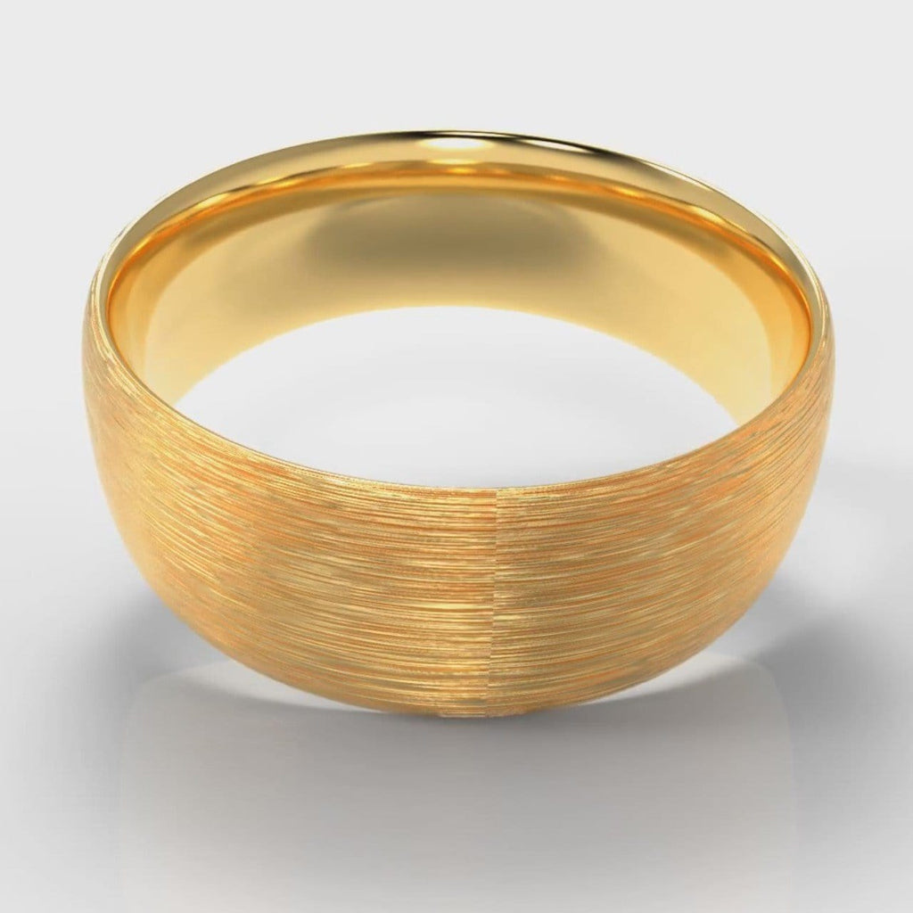 8mm Court Shaped Comfort Fit Brushed Wedding Ring - Yellow Gold