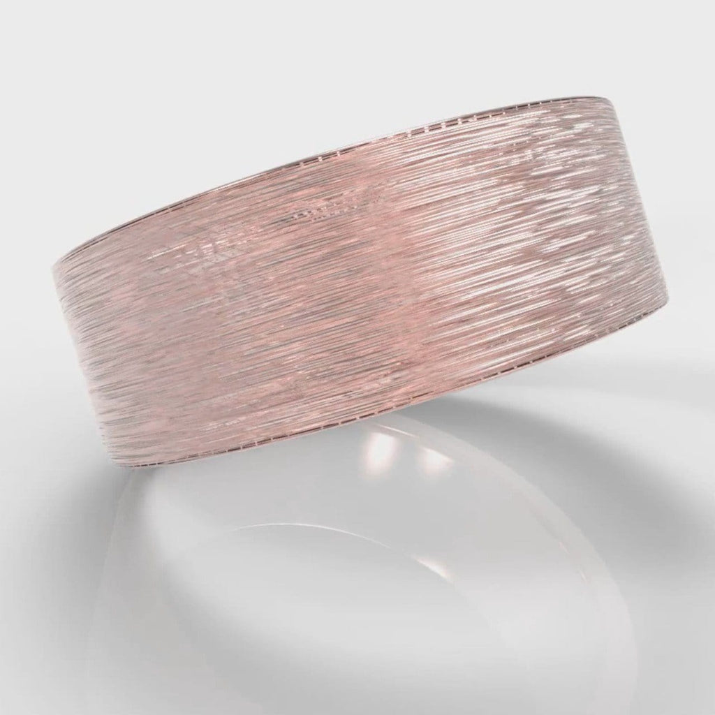 8mm Flat Top Comfort Fit Brushed Wedding Ring - Rose Gold