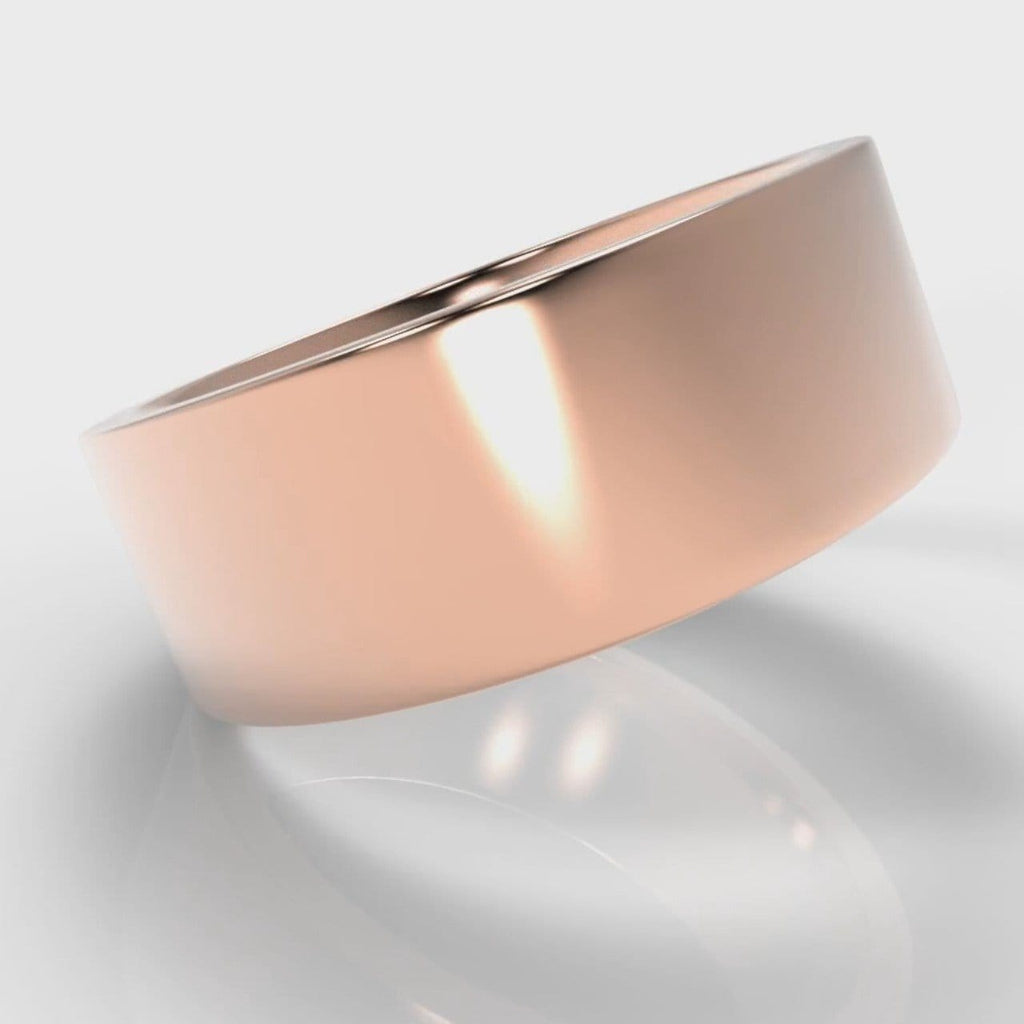 8mm Flat Top Comfort Fit Wedding Ring - Rose Gold