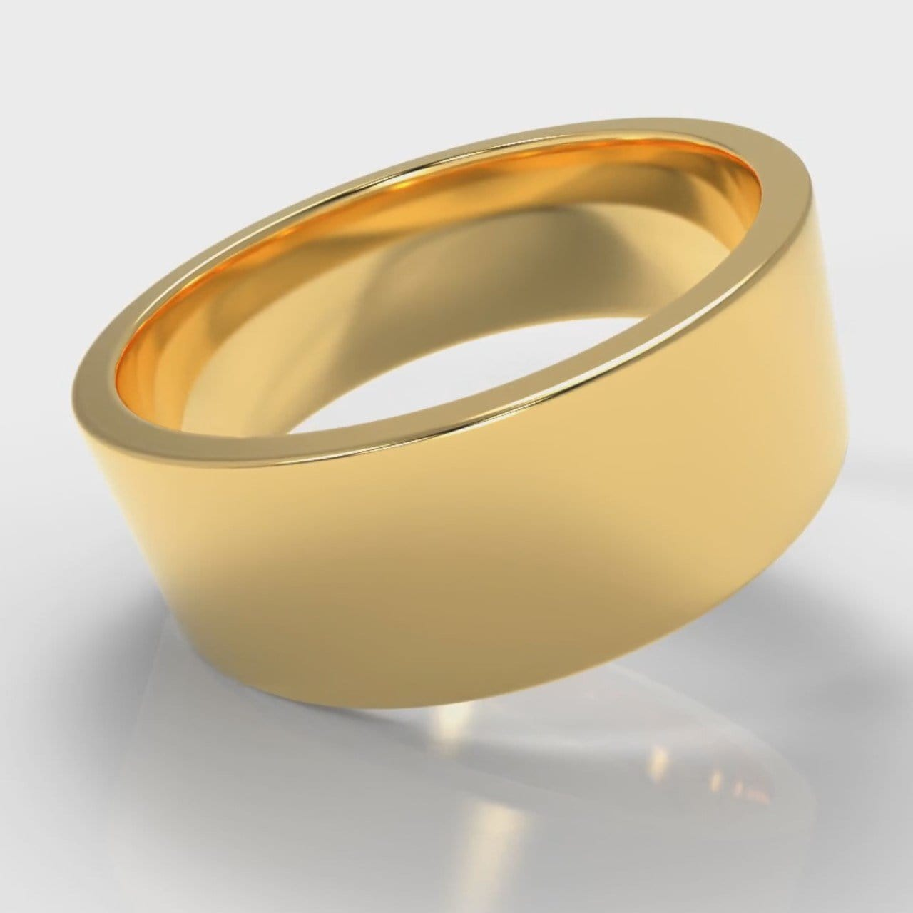 8mm Flat Top Comfort Fit Wedding Ring - Yellow Gold