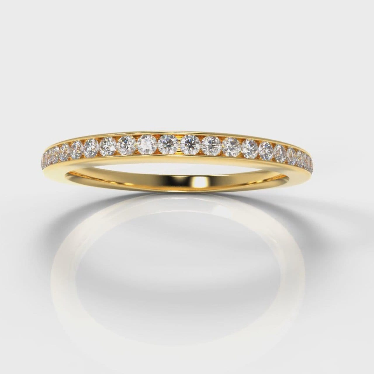 Petite Channel Set Diamond Wedding Ring - Yellow Gold