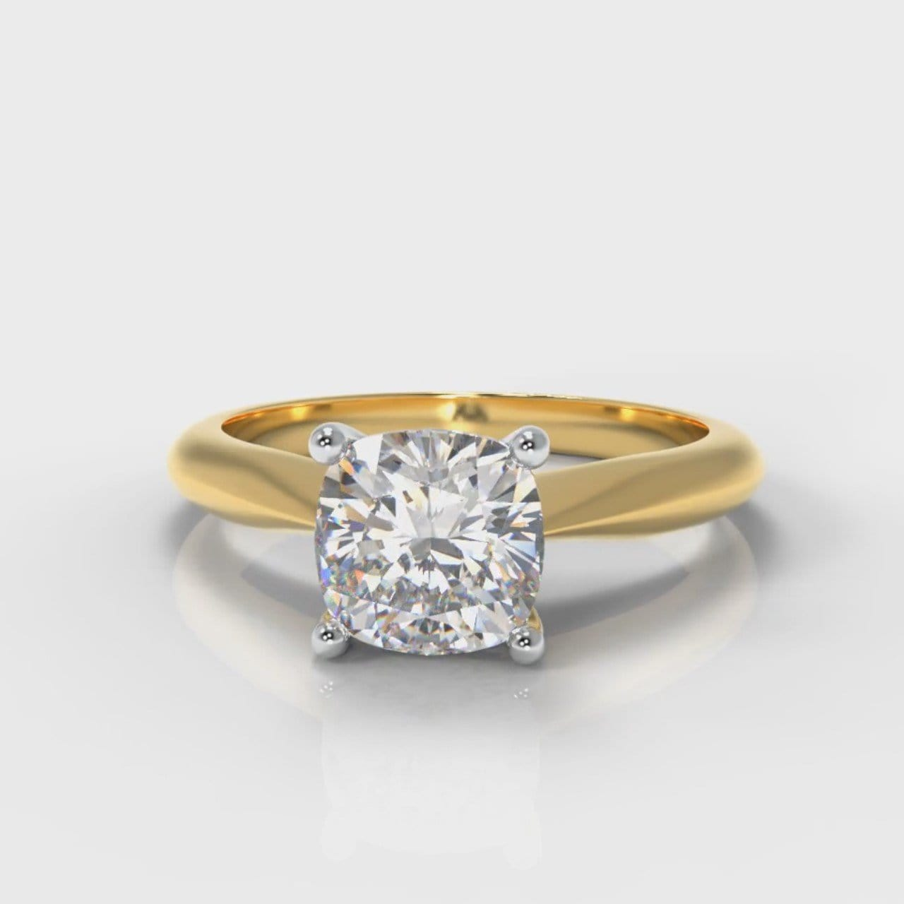 Carrée Solitaire Cushion Cut Diamond Engagement Ring - Yellow Gold