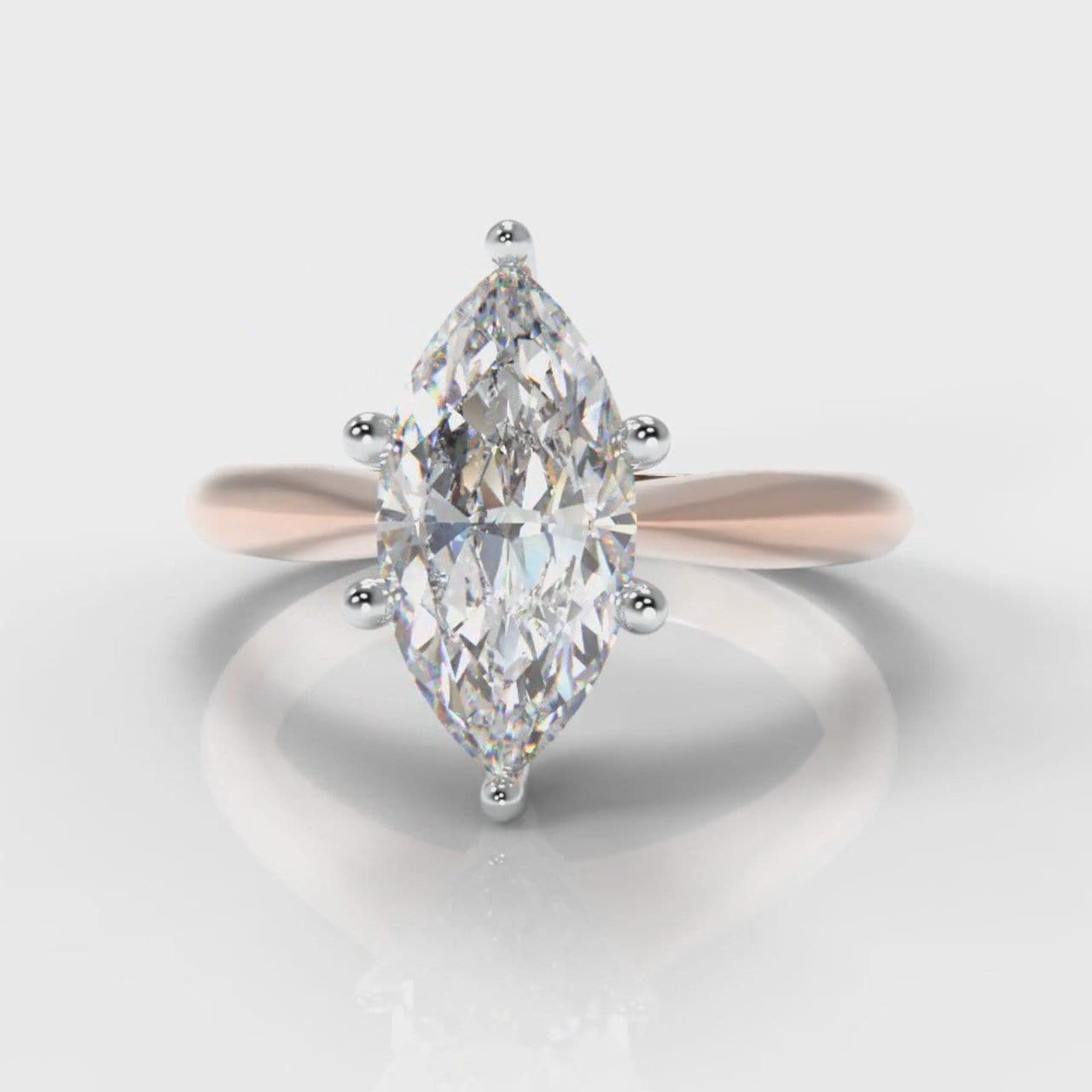 Star Solitaire Marquise Diamond Engagement Ring - Rose Gold