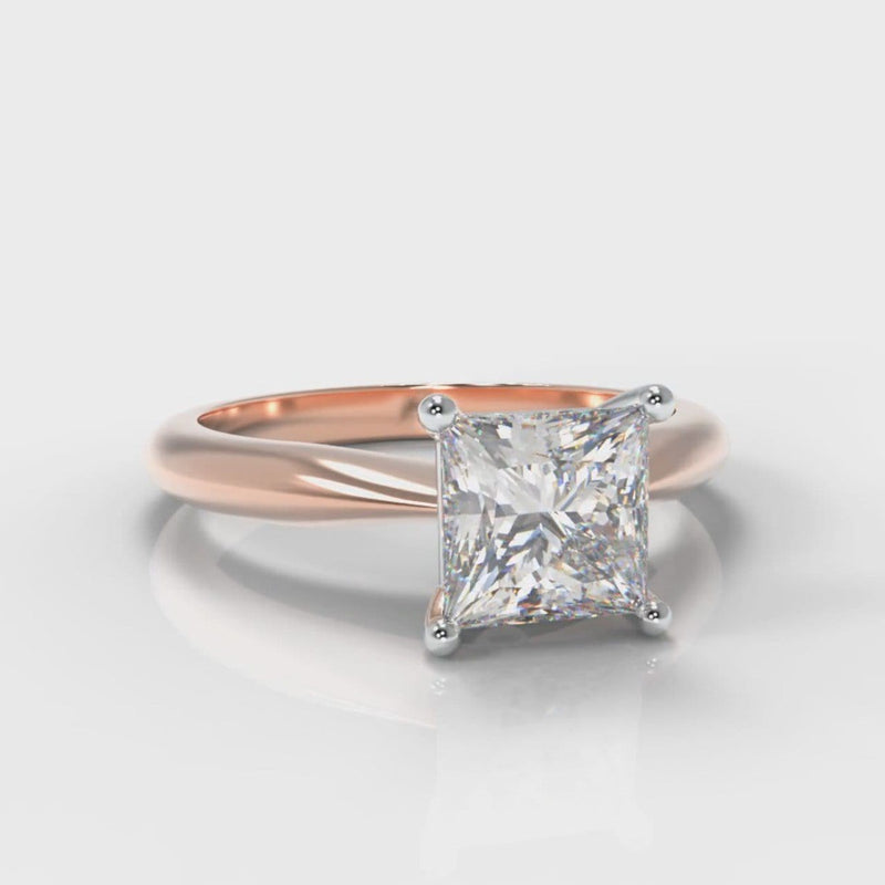 Carrée Solitaire Princess Cut Diamond Engagement Ring - Rose Gold