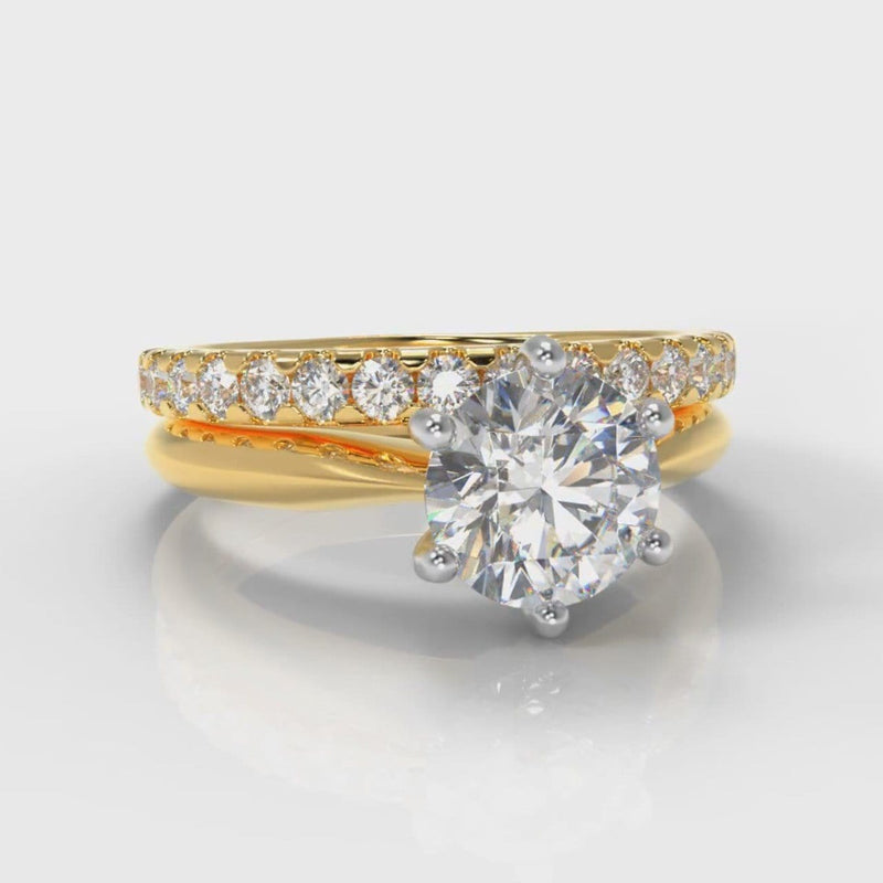 Star Solitaire Round Brilliant Bridal Set - Yellow Gold