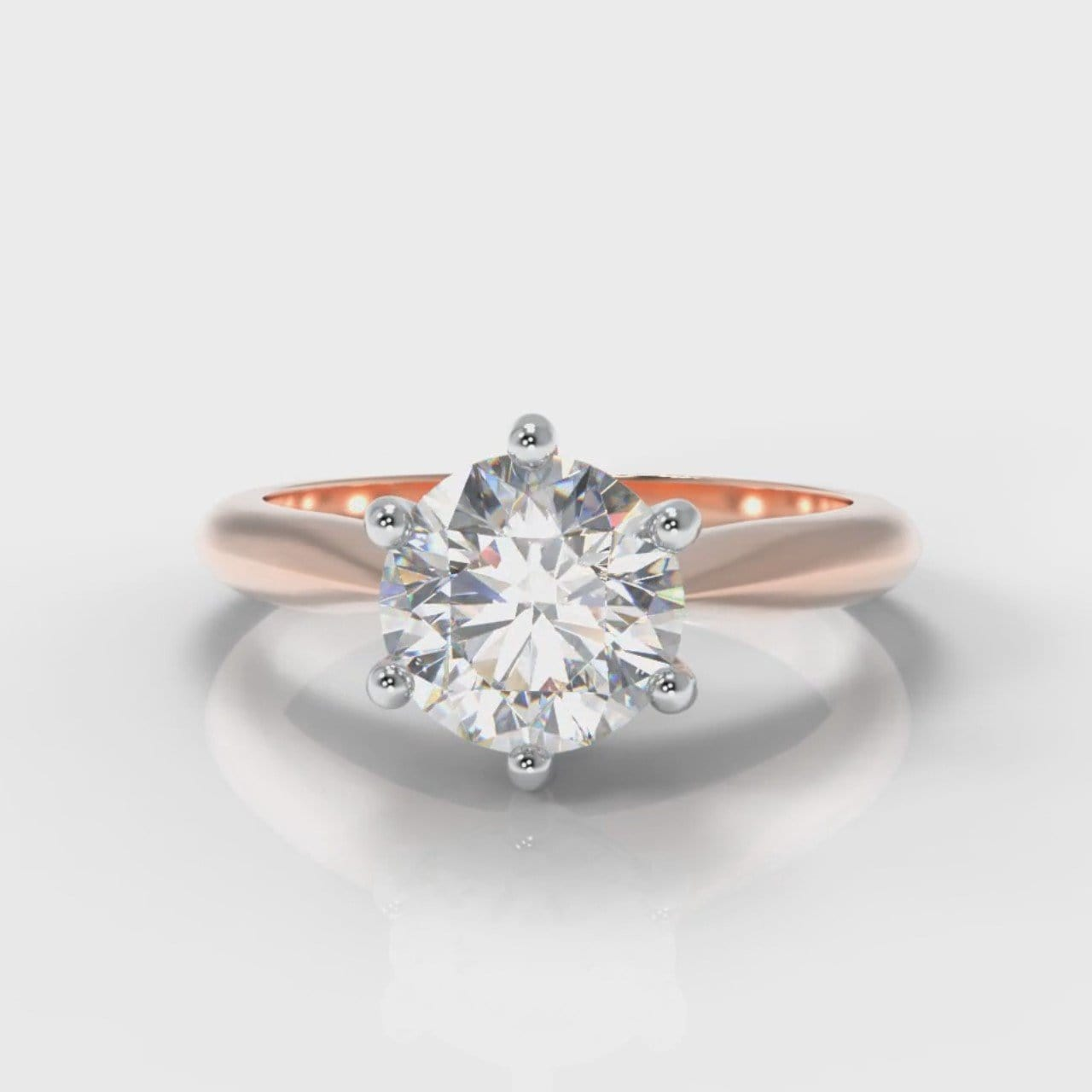 Star Solitaire Round Brilliant Diamond Engagement Ring - Rose Gold