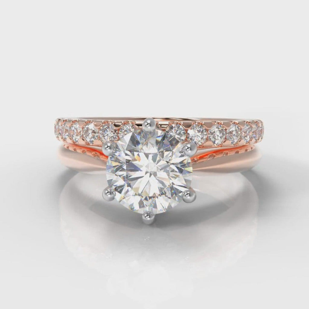 Star Solitaire Round Brilliant Bridal Set - Rose Gold