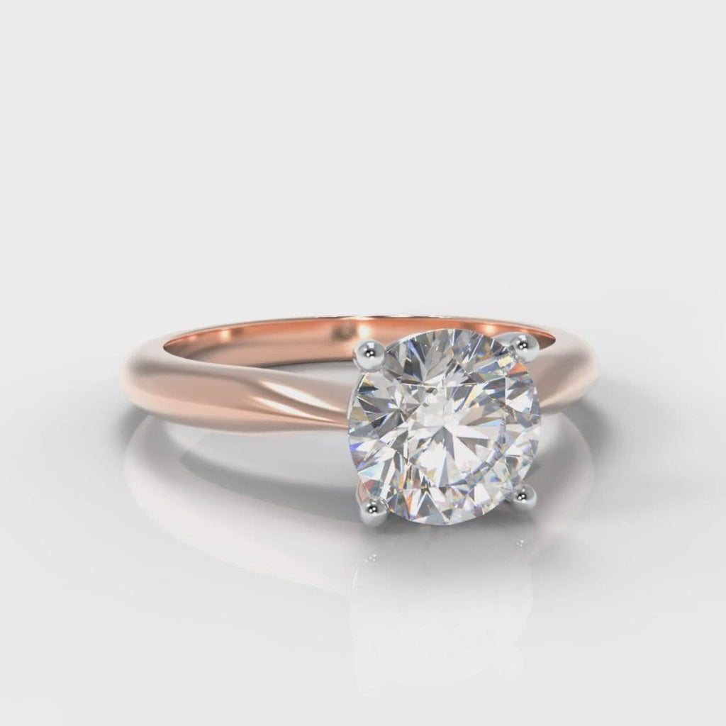 Carrée Solitaire Round Brilliant Engagement Ring - Rose Gold