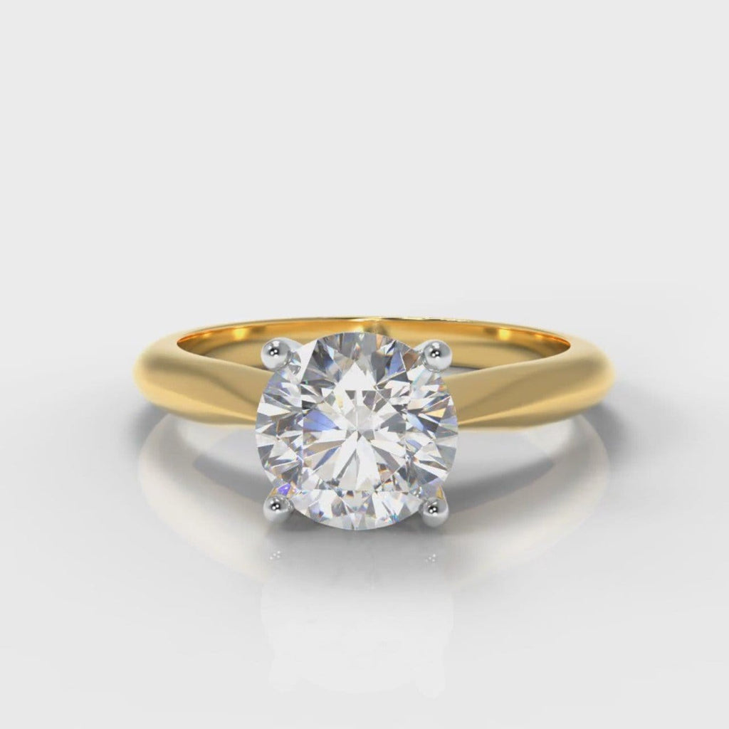 Carrée Solitaire Round Brilliant Diamond Engagement Ring - Yellow Gold