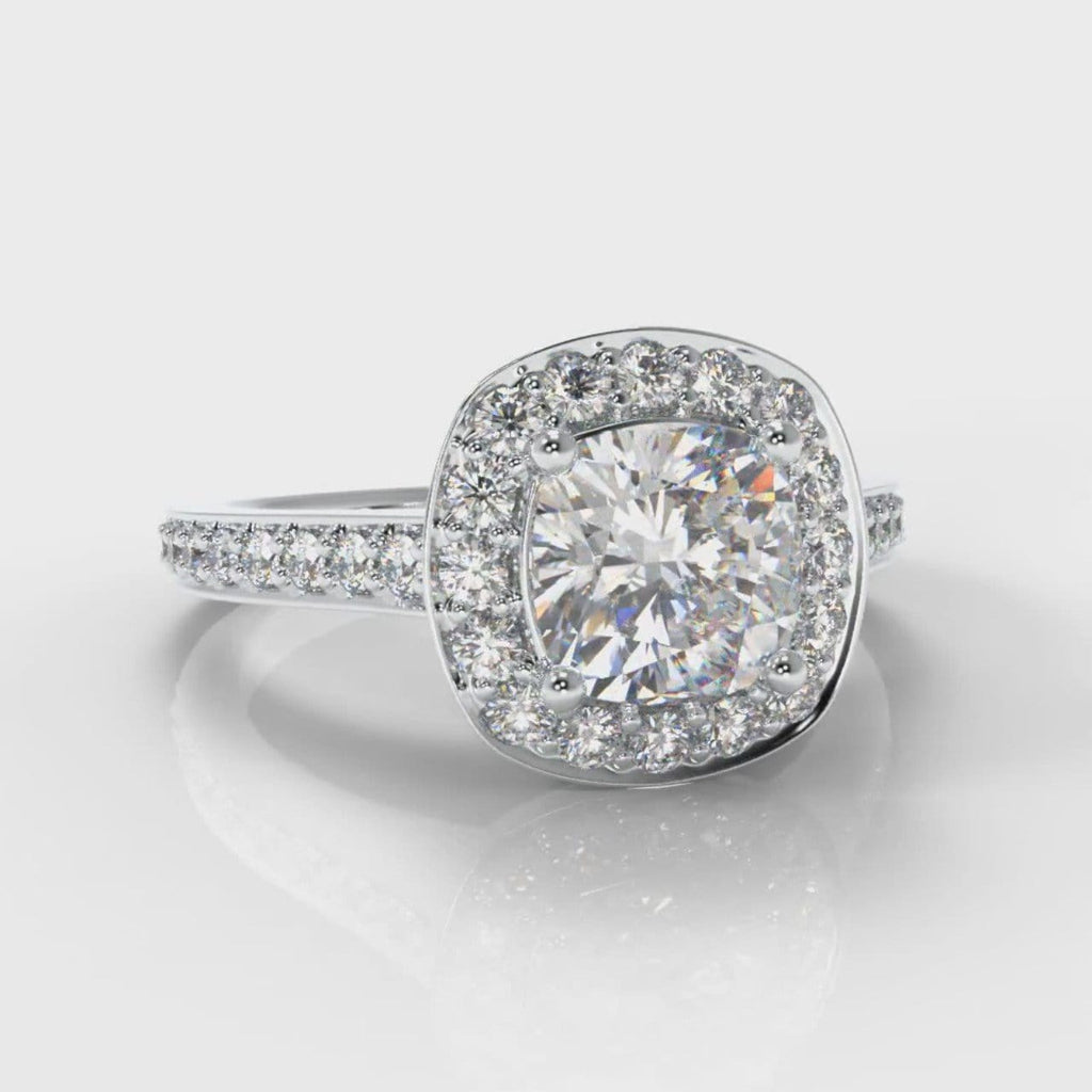 Pavé Cushion Cut Diamond Halo Engagement Ring