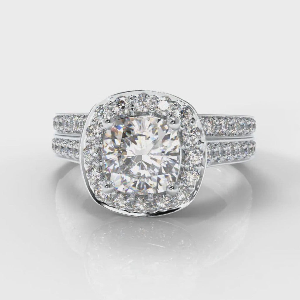 Pavé Cushion Cut Diamond Halo Bridal Set