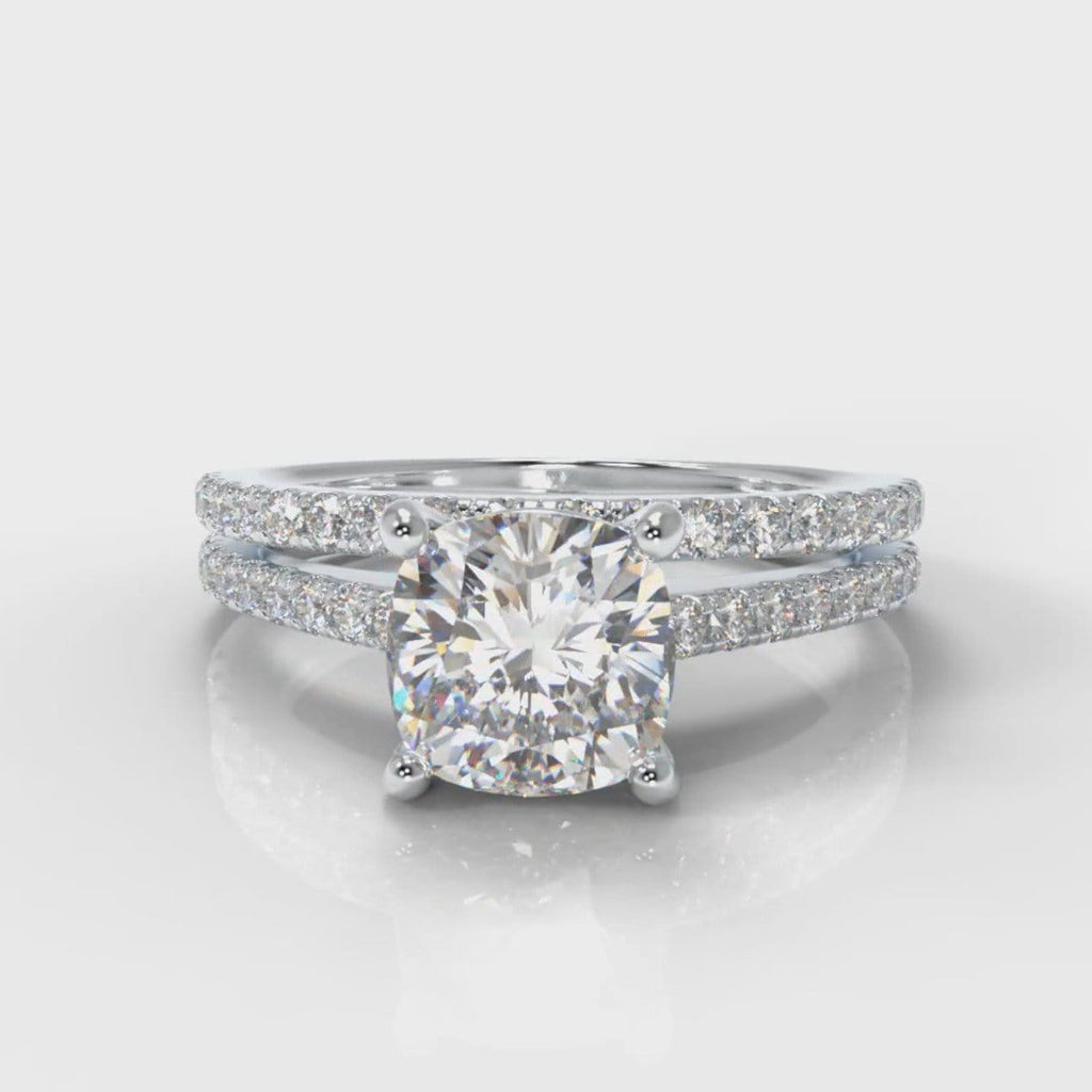 Petite Micropavé Cushion Cut Diamond Bridal Set