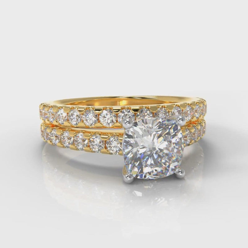 Carrée Micropavé Cushion Cut Diamond Bridal Set - Yellow Gold