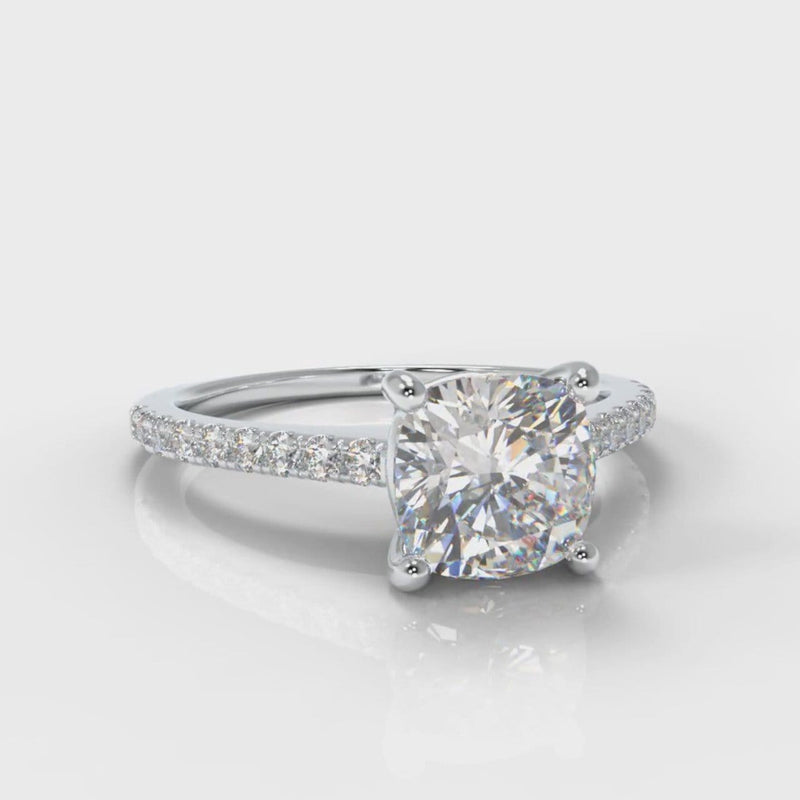 Petite Micropavé Cushion Cut Diamond Engagement Ring