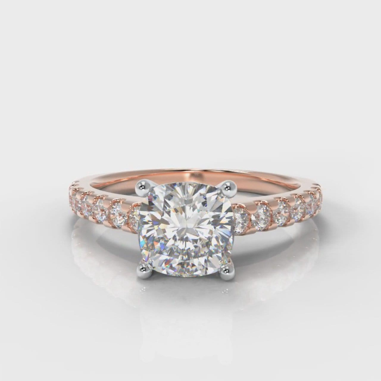 Carrée Micropavé Cushion Cut Diamond Engagement Ring - Rose Gold