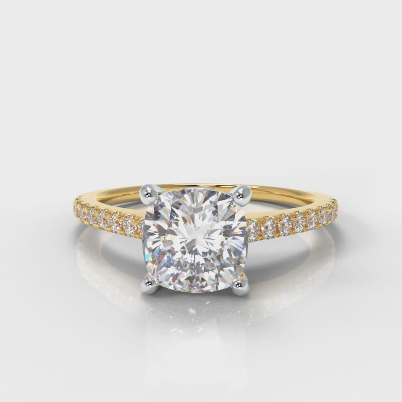 Petite Micropavé Cushion Cut Diamond Engagement Ring - Yellow Gold