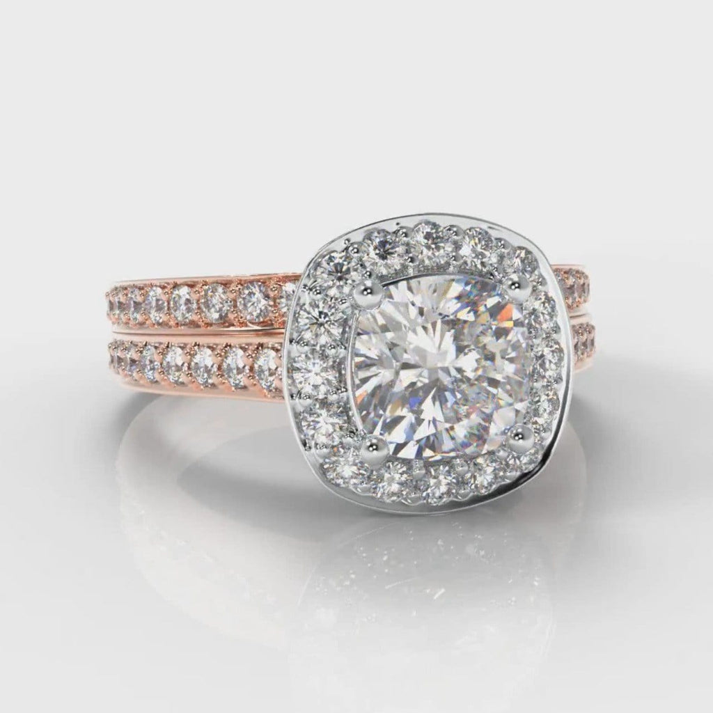 Pavé Cushion Cut Diamond Halo Bridal Set - Two Tone Rose Gold