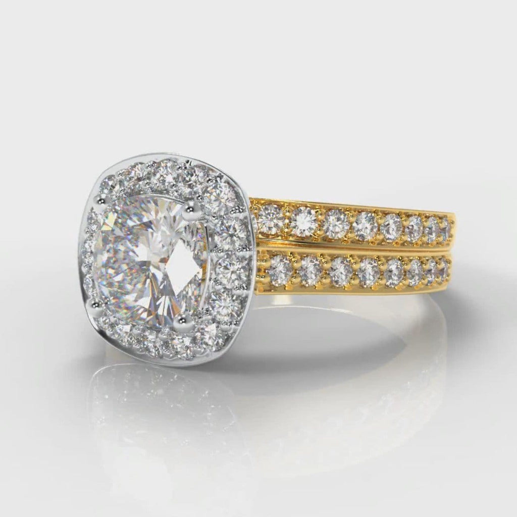 Pavé Cushion Cut Diamond Halo Bridal Set - Two Tone Yellow Gold