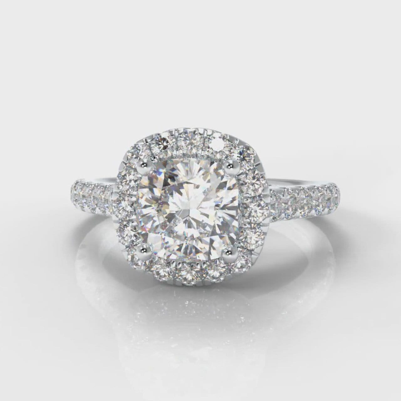 Micropavé Cushion Cut Diamond Halo Engagement Ring