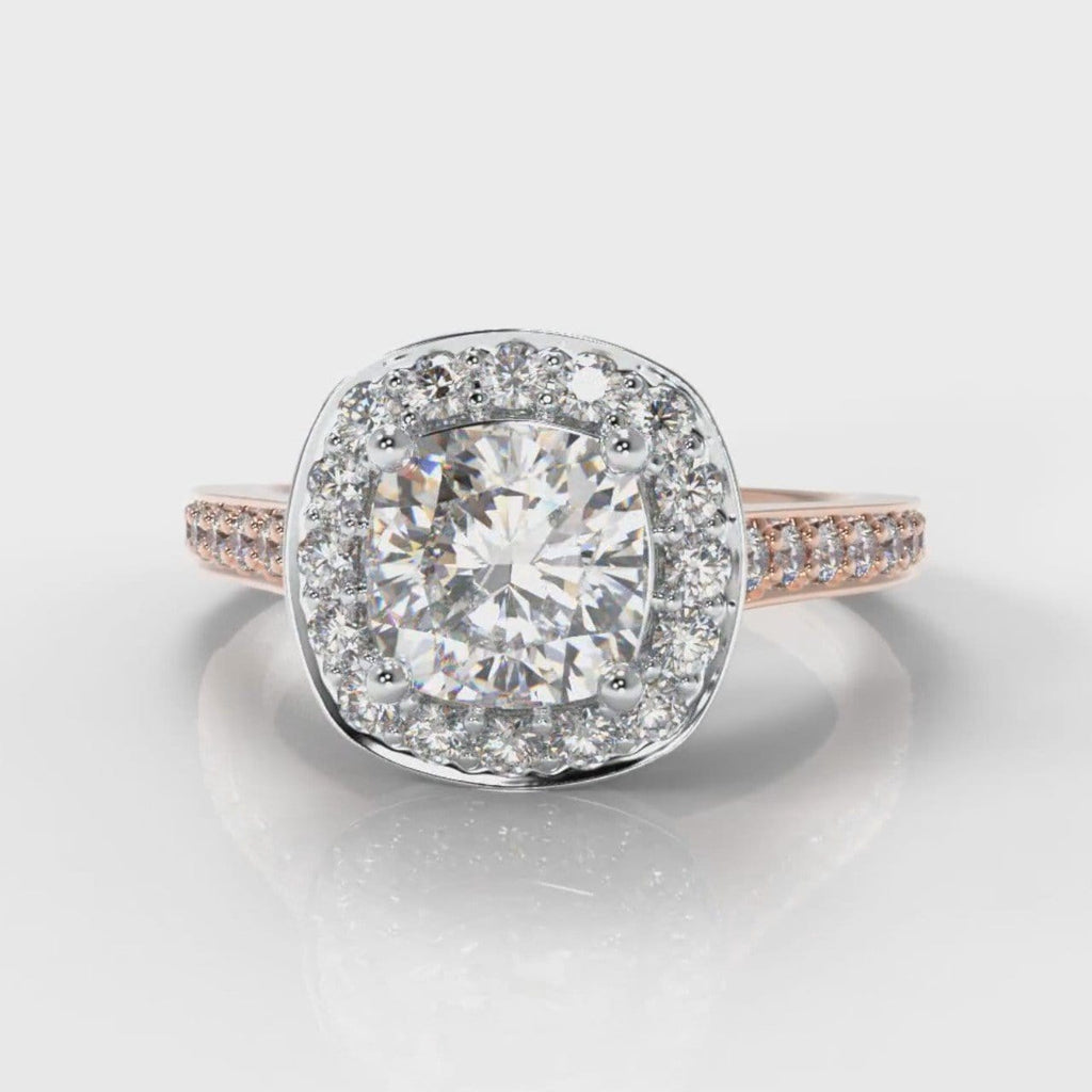 Pavé Cushion Cut Diamond Halo Engagement Ring - Two Tone Rose Gold