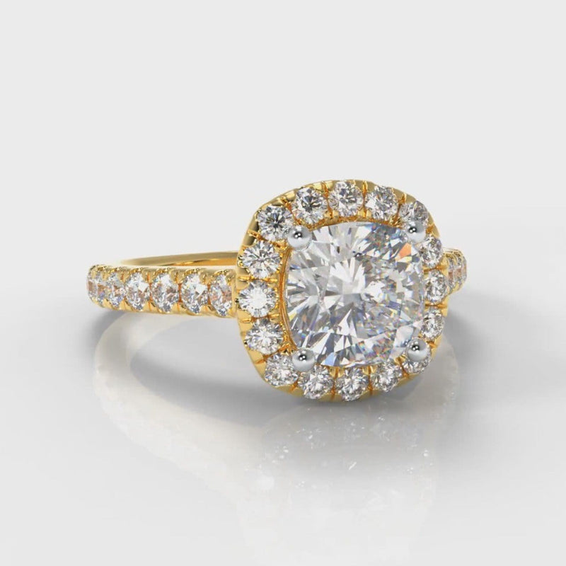 Micropavé Cushion Cut Diamond Halo Engagement Ring - Yellow Gold
