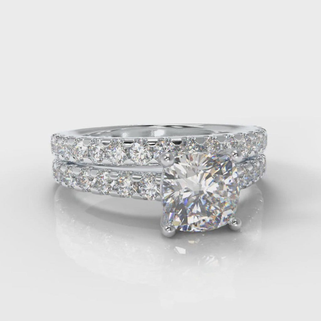 Carrée Micropavé Cushion Cut Diamond Bridal Set