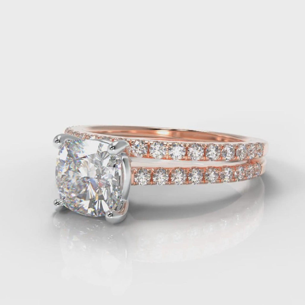 Petite Micropavé Cushion Cut Diamond Bridal Set - Rose Gold