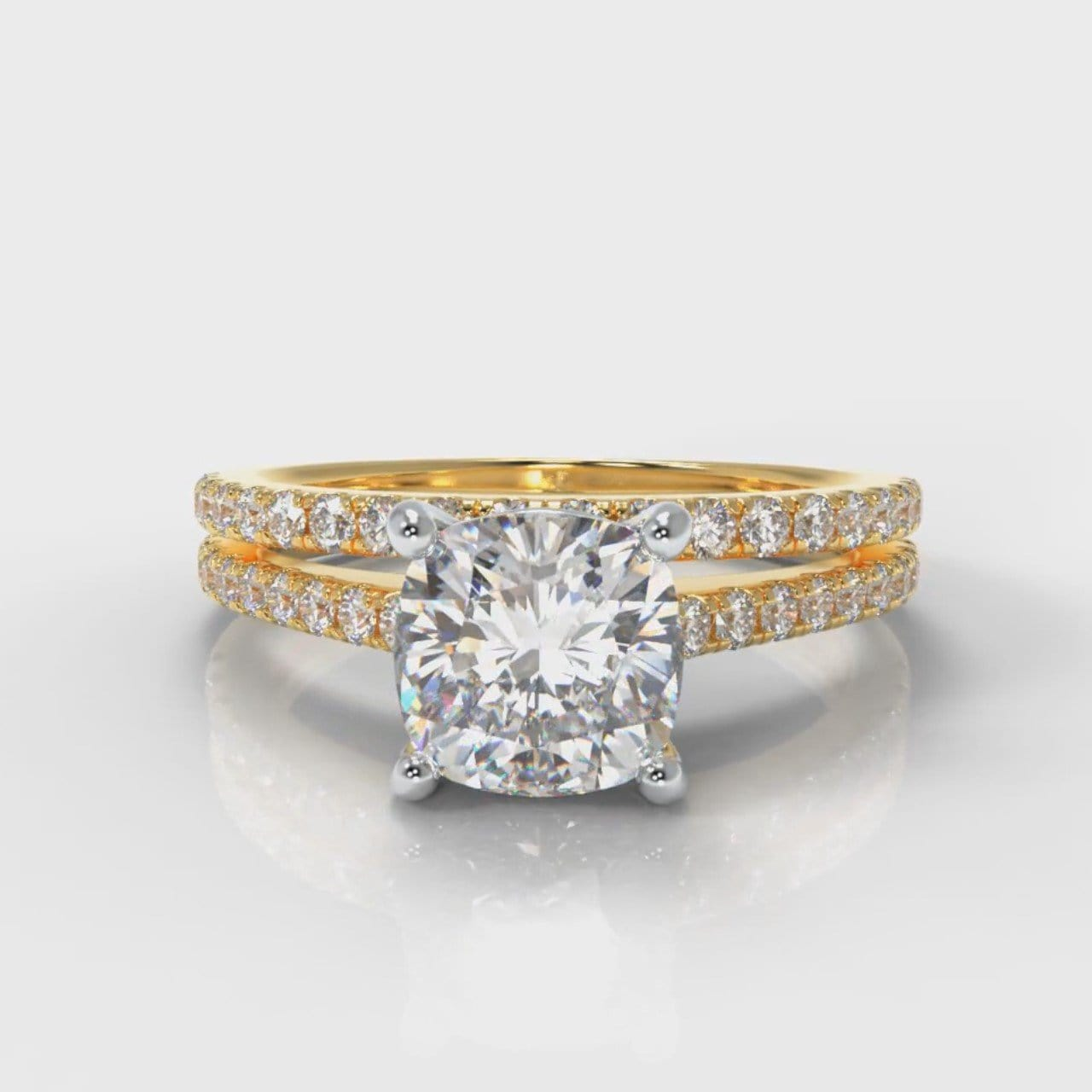 Petite Micropavé Cushion Cut Diamond Bridal Set - Yellow Gold