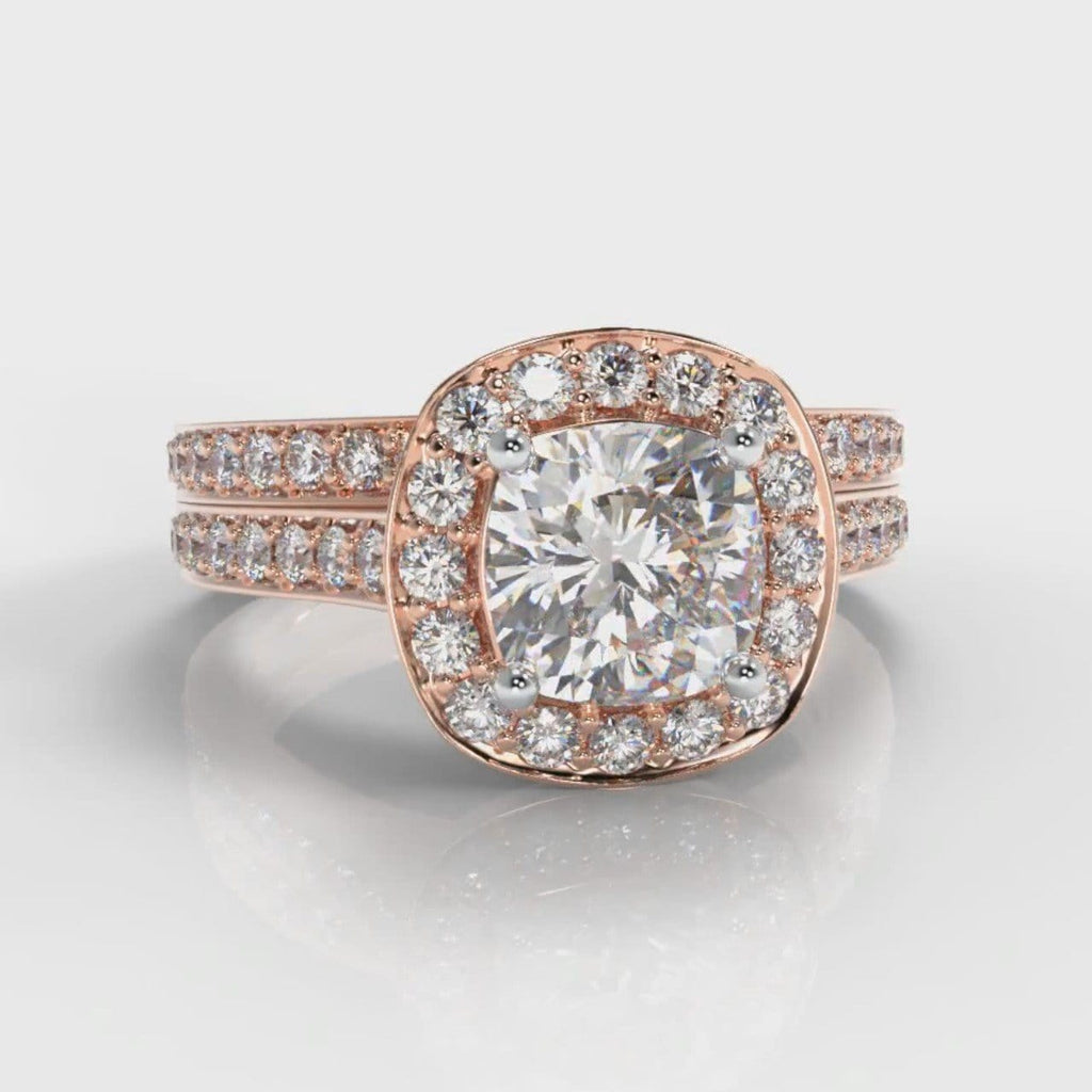 Pavé Cushion Cut Diamond Halo Bridal Set - Rose Gold