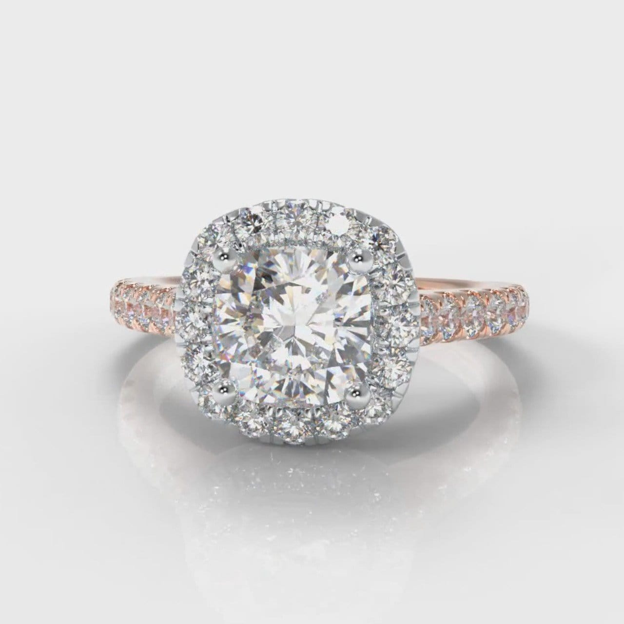 Micropavé Cushion Cut Diamond Halo Engagement Ring - Two Tone Rose Gold