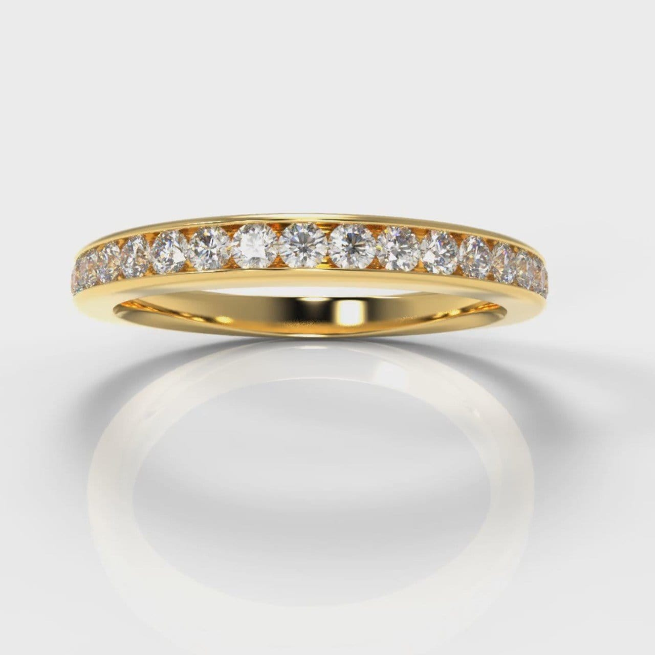 Channel Set Diamond Wedding Ring - Yellow Gold