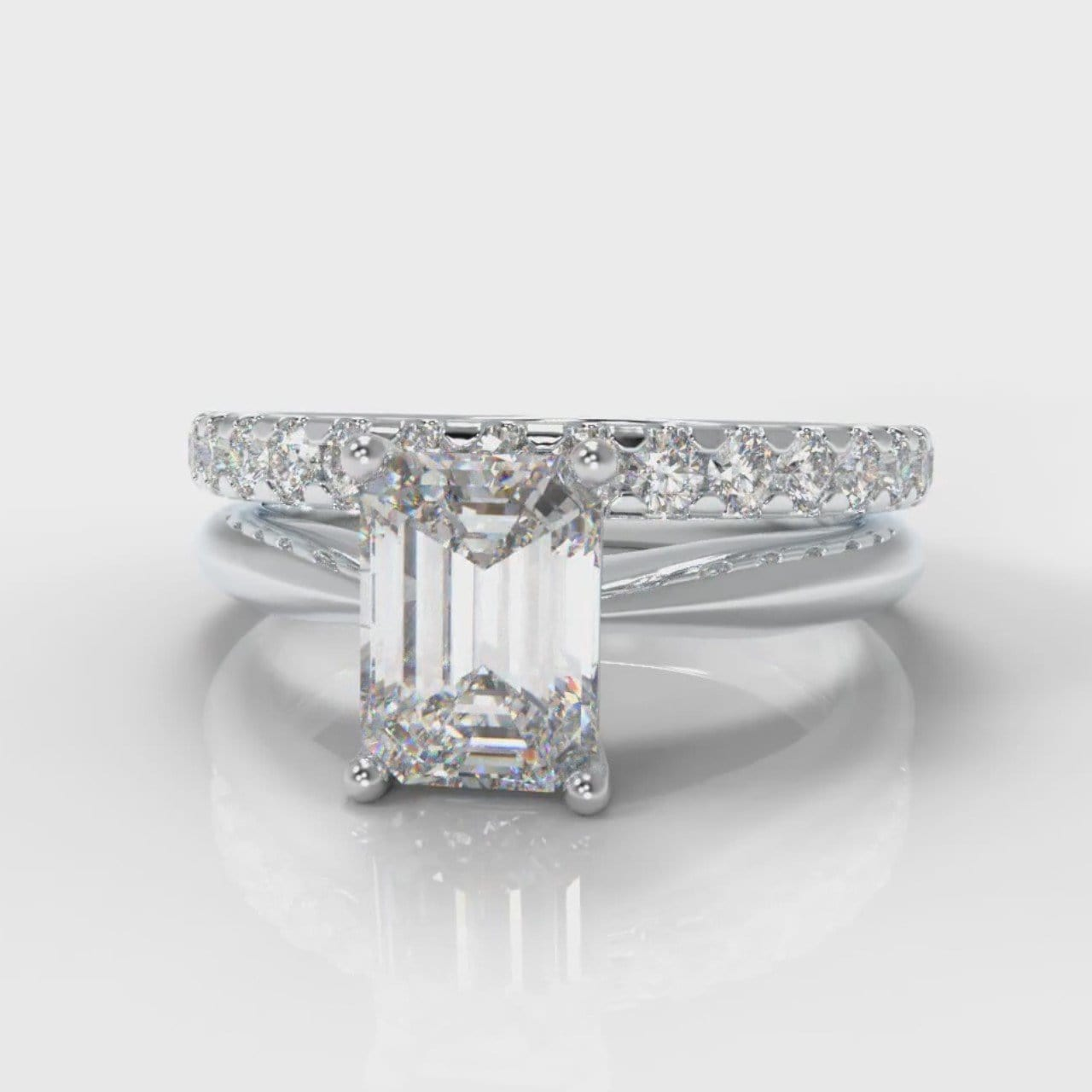 Carrée Solitaire Emerald Cut Diamond Bridal Set