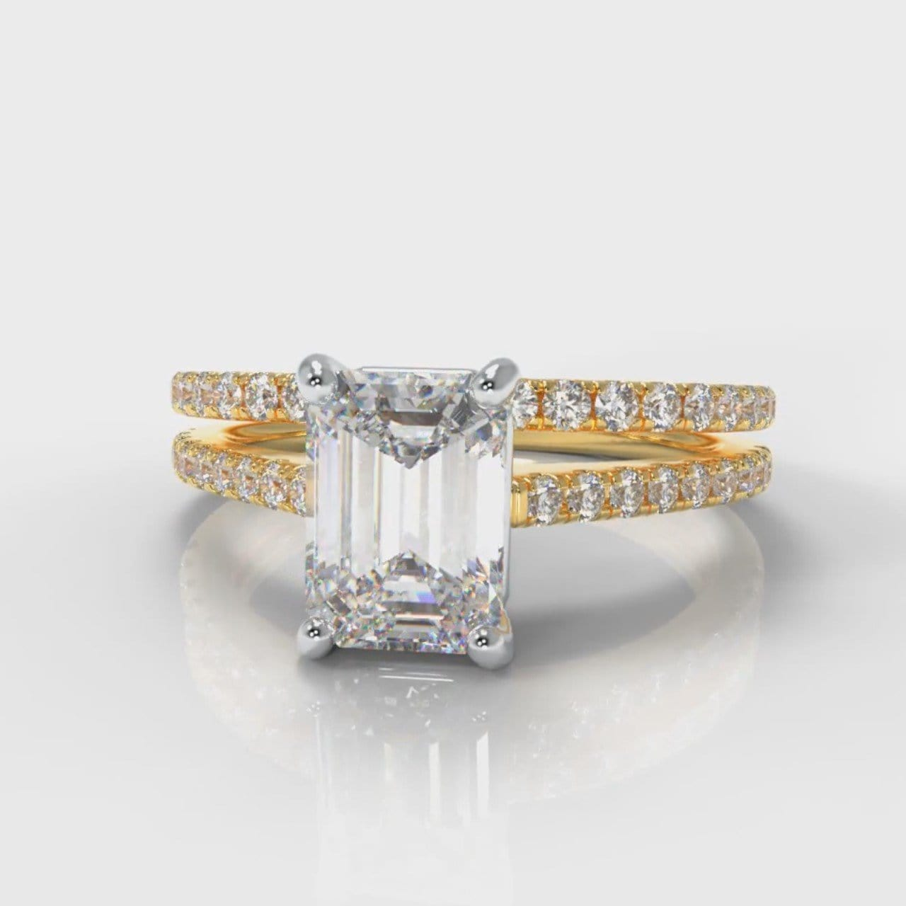 Petite Micropavé Emerald Cut Diamond Bridal Set - Yellow Gold