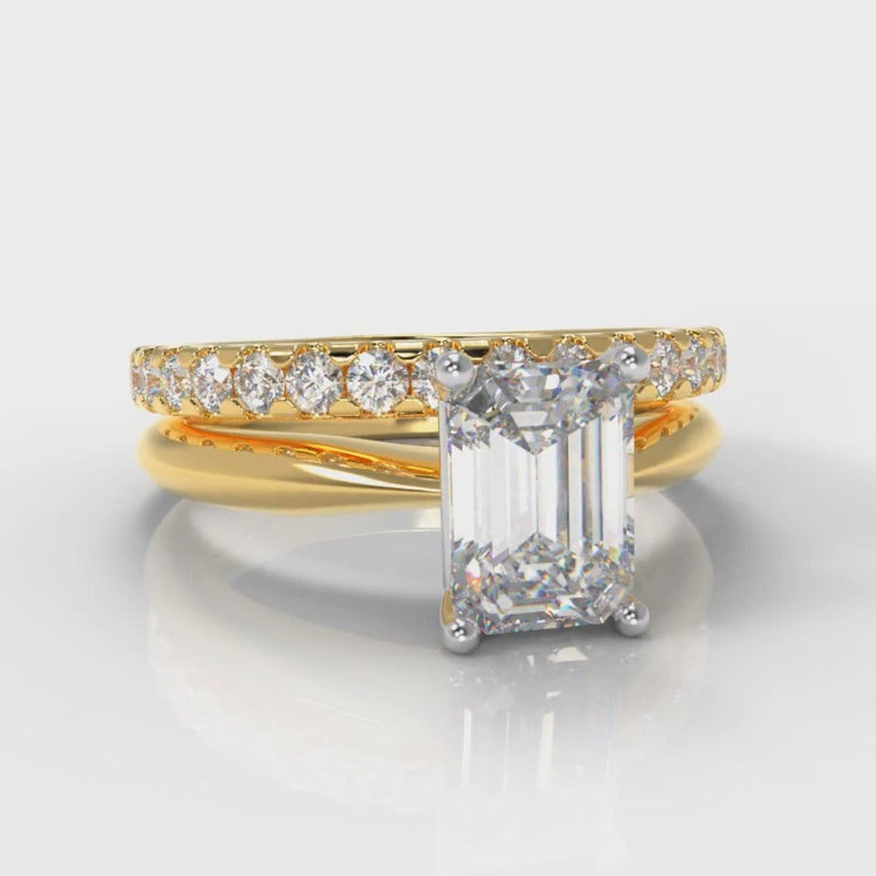Carrée Solitaire Emerald Cut Diamond Bridal Set - Yellow Gold