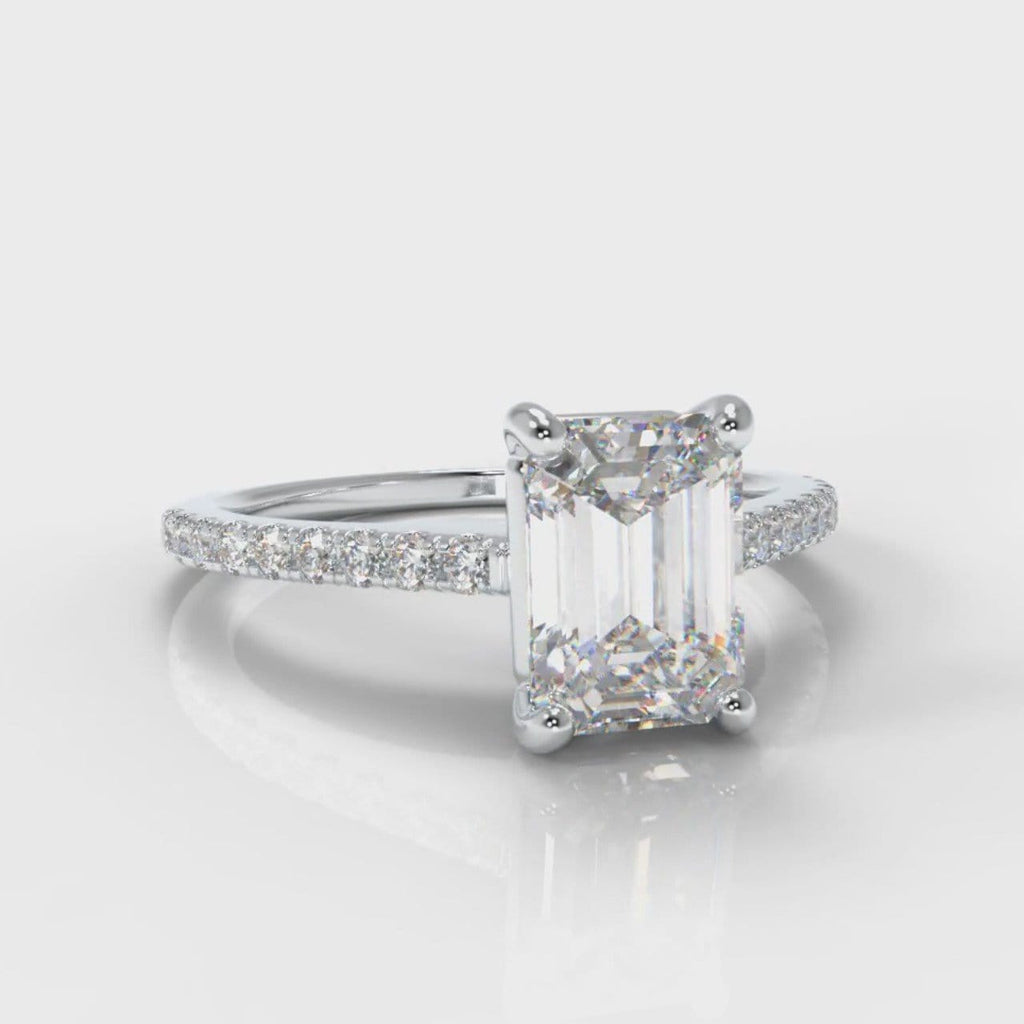 Petite Micropavé Emerald Cut Diamond Engagement Ring