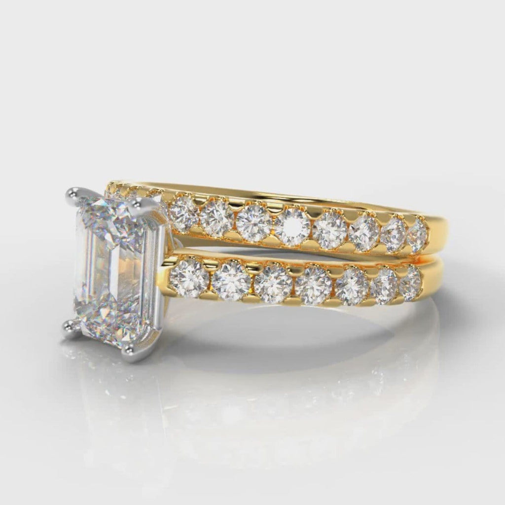 Carrée Micropavé Emerald Cut Diamond Bridal Set - Yellow Gold