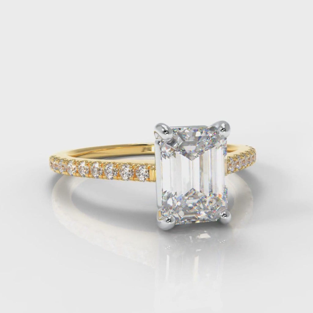 Petite Micropavé Emerald Cut Diamond Engagement Ring - Yellow Gold