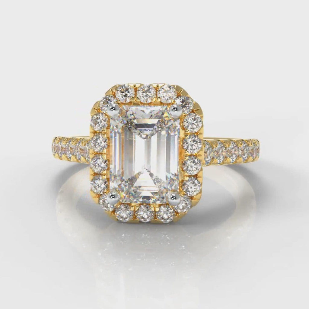 Micropavé Emerald Cut Diamond Halo Engagement Ring - Yellow Gold