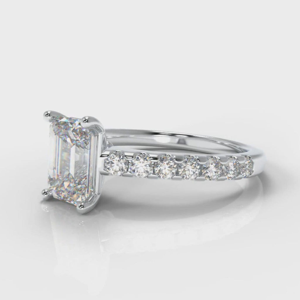 Carrée Micropavé Emerald Cut Diamond Engagement Ring