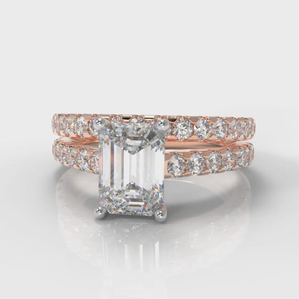 Carrée Micropavé Emerald Cut Diamond Bridal Set - Rose Gold